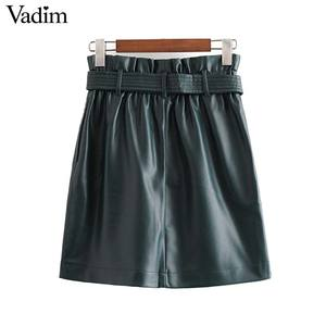 Image 2 - Vadim נשים עור מפוצל מוצק מיני חצאית רוכסן לטוס אלסטי מותניים כיסי עיצוב נשי אופנתי שיק בסיסי חצאית mujer BA857