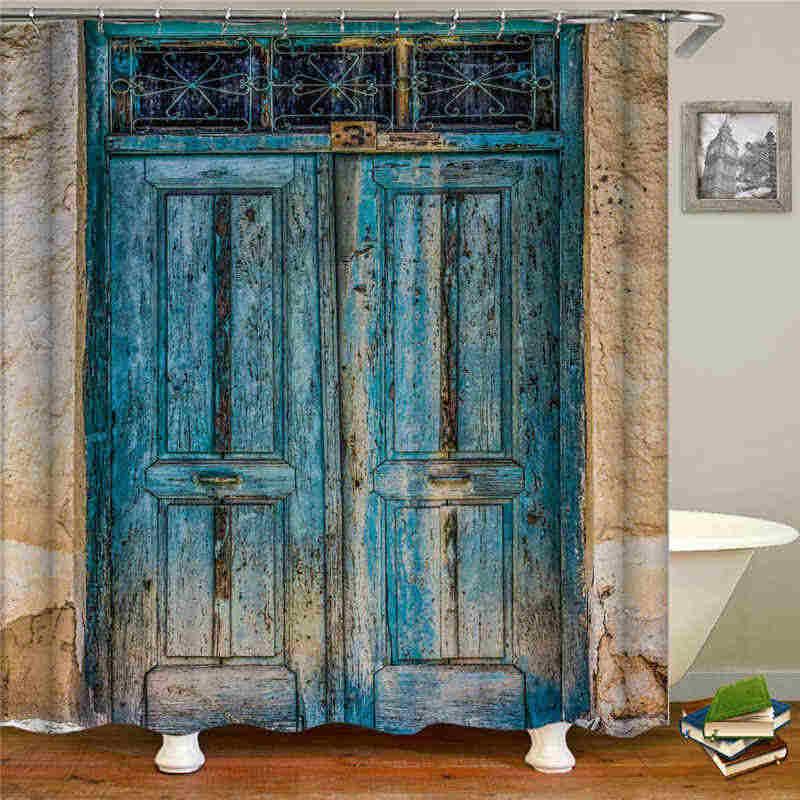 old vintage wood doors shower curtain mat decorative waterproof polyester fabric bathroom curtain set home bath decor multi size