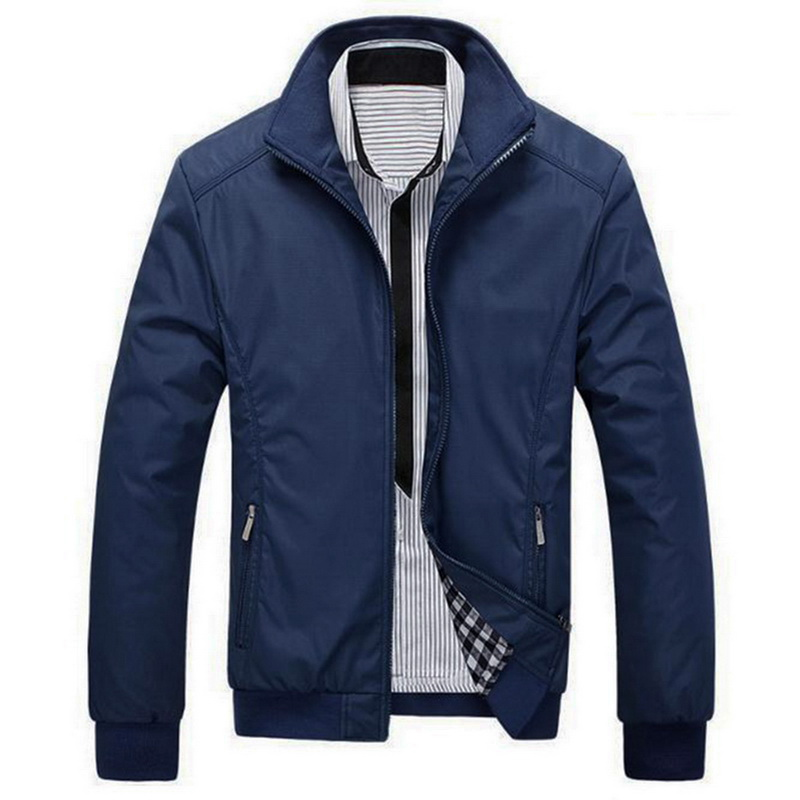 Solid Color 2019 Casual Jacket  Men Spring Autumn Outerwear Mandarin Collar Male Clothing M-5XL Spring Autumn Style