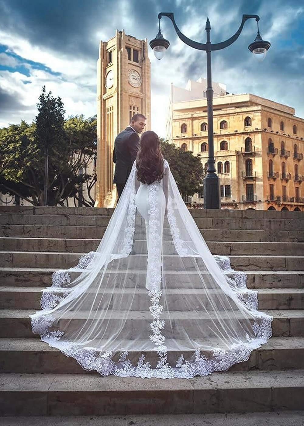 Walk Beside You Bolero Women Wedding Accessories Long Train Tulle Lace Applique Cape Bridal Shawl Cloack Shrug Mariage 2020