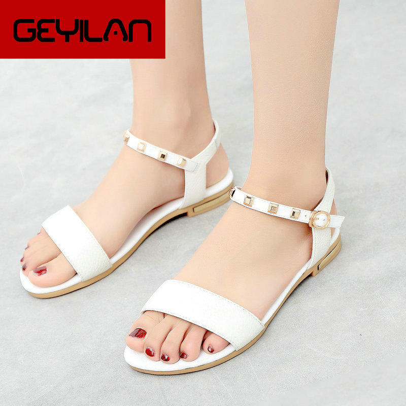 Summer Flat Heel Sandals Women Shoes Open Toe Buckle comfy Casual Ladies Shoes Big Size 43