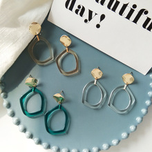 Transparent Blue Irregular Clip Earrings Without Piercing Simple Stylish Multicolor Earrings