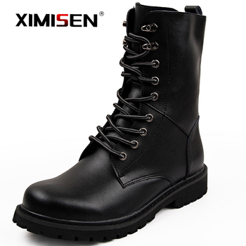 XIMISEN Genuine Leather Men Military Leather Boots Special Force Tactical Desert Combat Men's Boots Outdoor Shoes Ankle Boots ultralight men army boots military shoes combat tactical ankle boots for men desert jungle boots outdoor shoes size 35 46