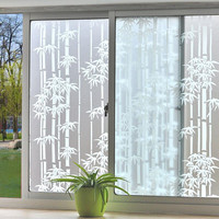 SUNICE Bamboo Decoration Window Film Privacy Window Film Adhesive Frosted Glass Film Shower Window Decals Living Room Office10M