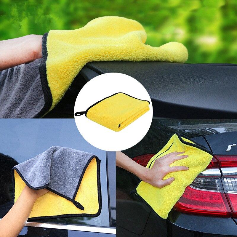 1pc cuidados com o carro lavagem de polimento toalhas de lavagem de microfibra de pelúcia toalha de secagem de lavagem de pano de limpeza de carro de fibra grossa forte