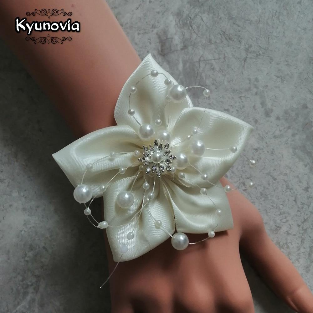Kyunovia Silk Ribbon Corsages Pearl Beaded Wrist Corsage Wedding Ivory Bridesmaid Bracelet Bride Wrist Corsage Decoration BY22