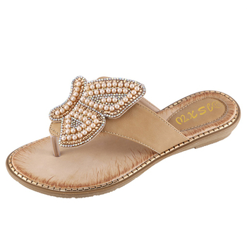 New Breathable Ladies Sandals Slippers Bohemia Rhinestone Pearl Butterfly Decorative Women's Shoes Summer Beach Flip Flops 4