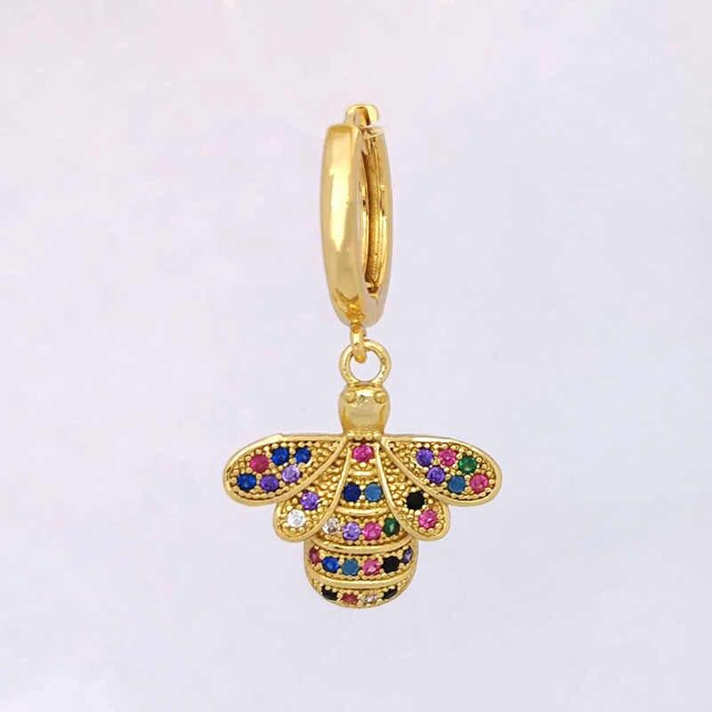 Kecil Anting Anting-Anting Wanita Jantung Lebah Geometris Kaktus Daun Bunga Mahkota Bintang Kuda CZ Rainbow Perhiasan Emas Warna Anak Hoops 1 Pc