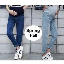 Весенние джинсы для беременных женщин, джинсовые штаны для беременных, хлопковые однослойные брюки, Одежда для беременных размера плюс