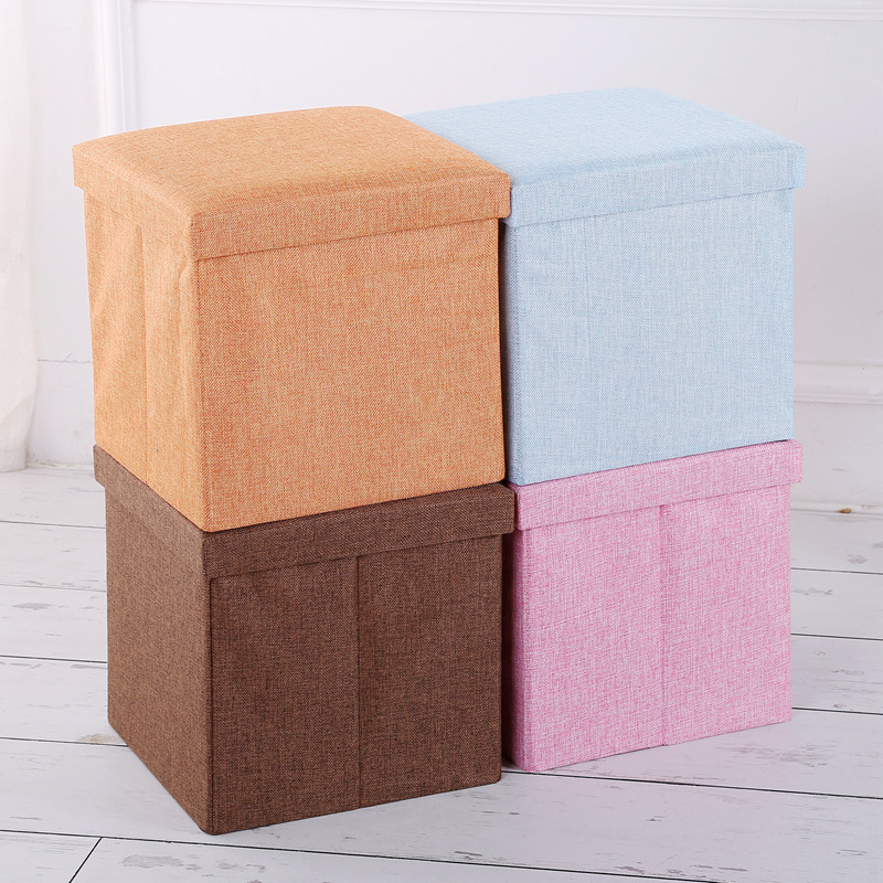 Linen Storage Chair Folding Footstool Box with Cap Fabric Storage Box Manufacturers Logo Customizable|  - title=