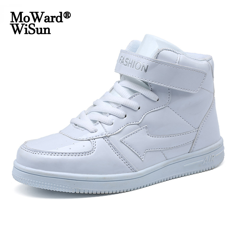 Size 31-38 Classic Solid White Children Sport Shoes For Kids Boys Girls High Cut Fashion Non-Slip Sneakers Baby Boys Girls Shoes