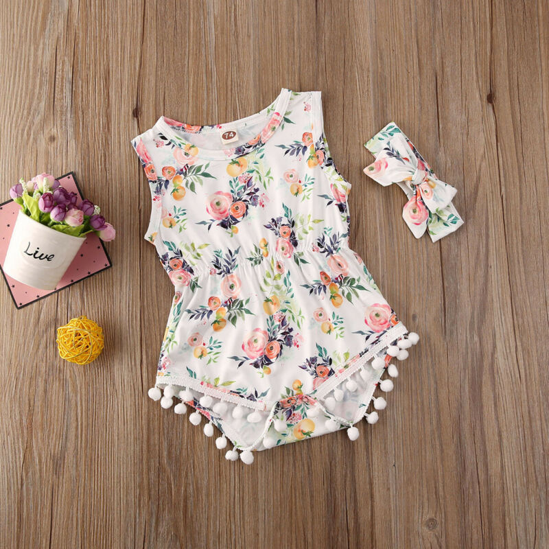 CANIS Summer Newborn Baby Girl Sleeveless Tassel Flower Printed Jumpsuit Bodysuit+Headband Clothes Outfit Set