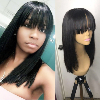 Ms Love Human Hair Wigs With Bangs Straight Brazilian Wig 14 Inches Natural Wig For Black Women Non Remy Wigs