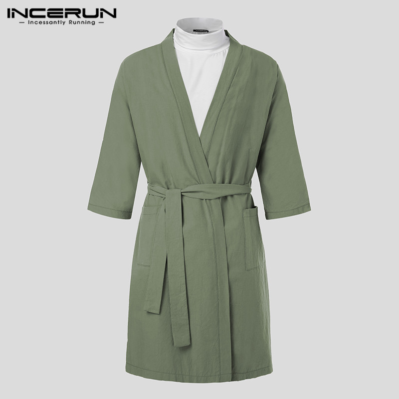 INCERUN Men Robes Homewear Retro Cotton V Neck 2019 Pockets 3/4 Sleeve Bathrobes Lacing Kimono Sleepwear Men Nightgown With Belt