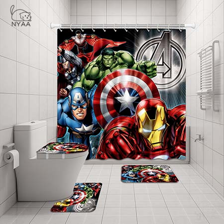 Shower Curtain Pedestal Rug Lid Toilet
