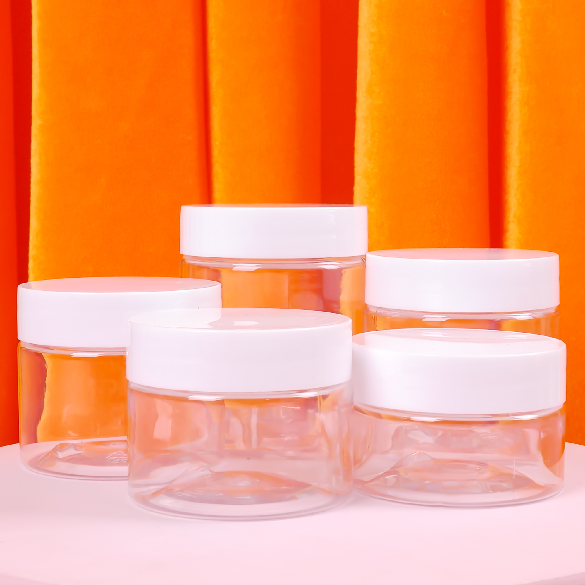 30ml/40ml/50ml/60ml/80ml Clear Plastic Jar with Lids Refillable Empty Cosmetic Containers Jar for Travel Storage Make Up
