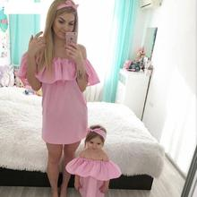2021 Daughter Dress Mother Daughter Dresses Summer Mommy Bebes Wedding Clothing Ruffles Family Matching Outfits Clothes Mum Mom