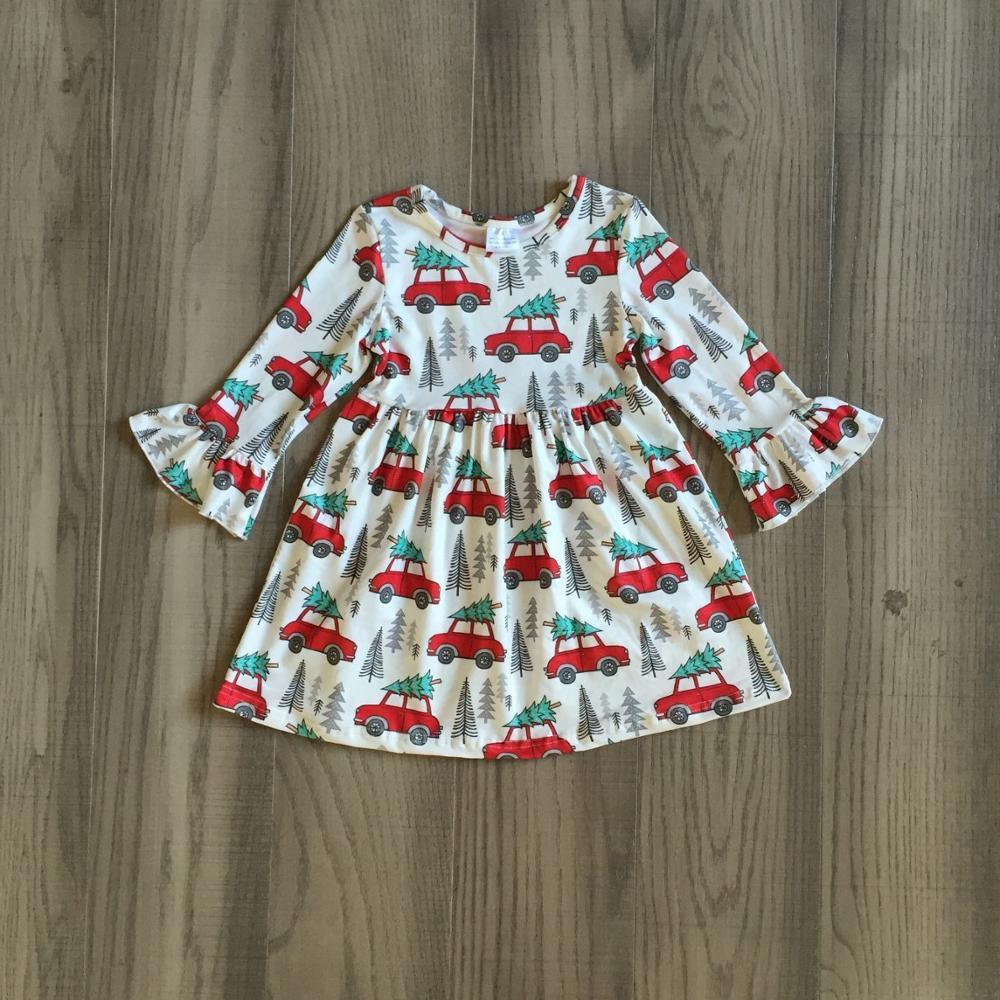 Exclusive Girlymax Christmas Girls Children Clothes Baby Santa Claus Fall/Winter Long Sleeve Ruffles Milk Silk Dress Boutique 3