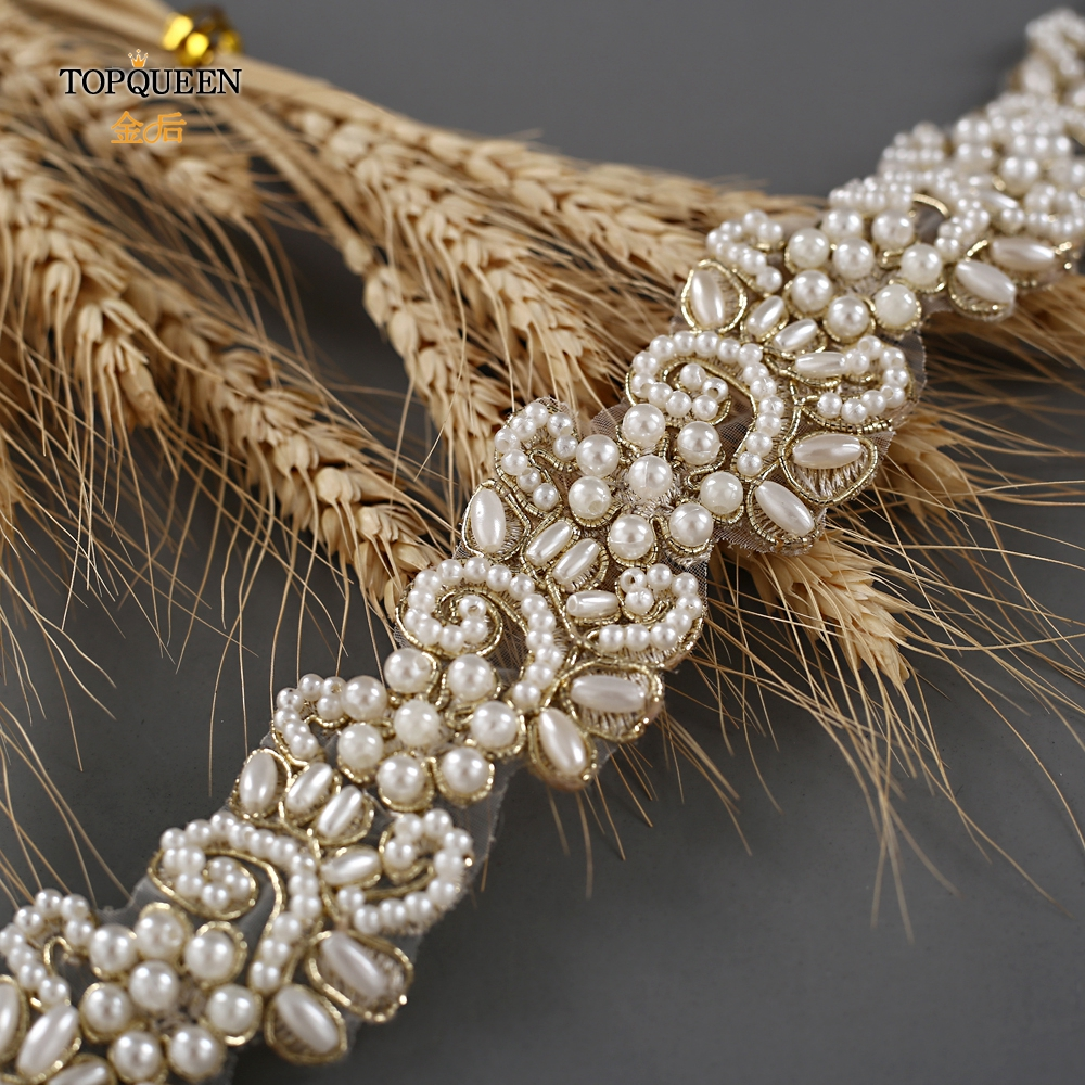 TOPQUEEN S412 Belt With Pearls Bridal Girdle Bridal Ribbon Belt Bride Wedding Dress Pearl Belt  For Bridal Bridesmaids Dresses