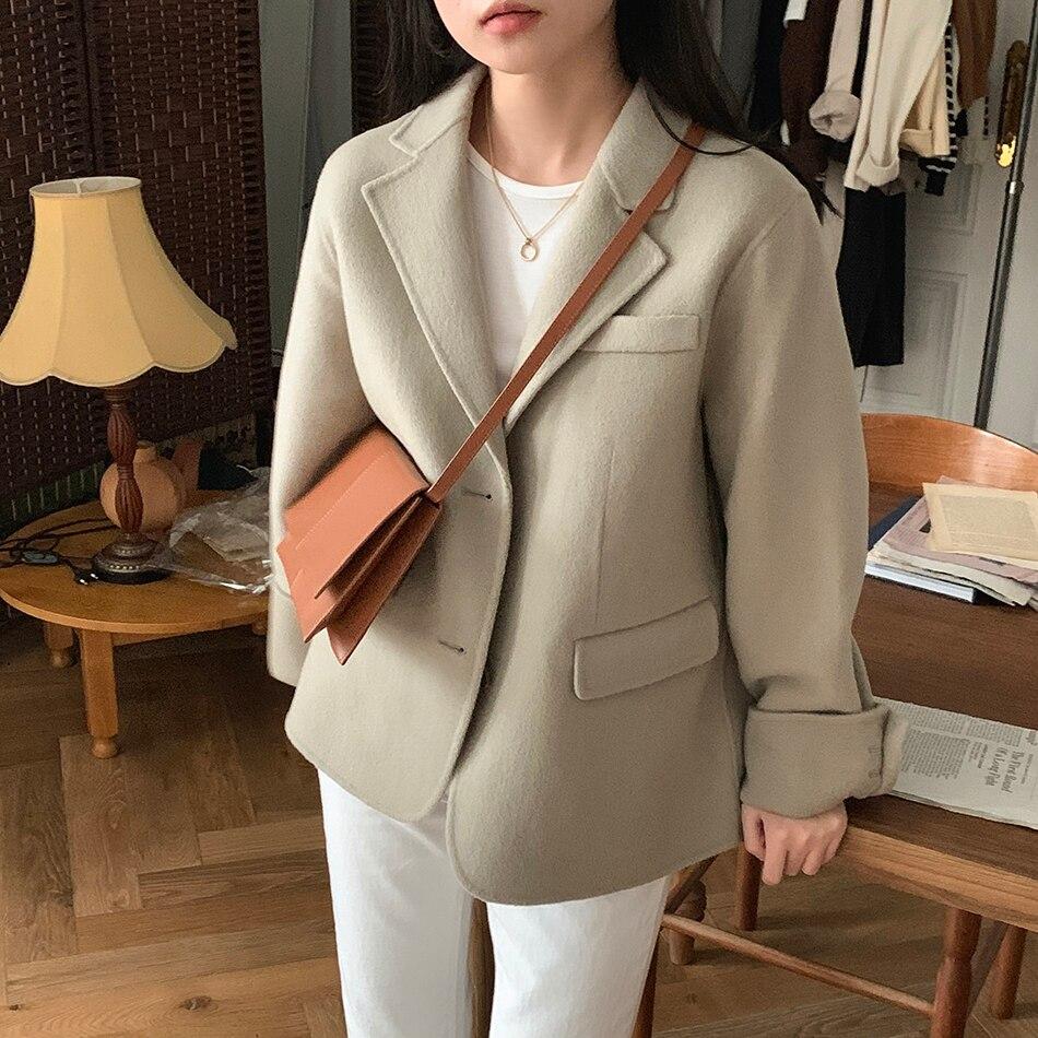 H45280472ec8b485897f6916f2a9fda20h - Winter Korean Revers Collar Solid Woolen Short Coat