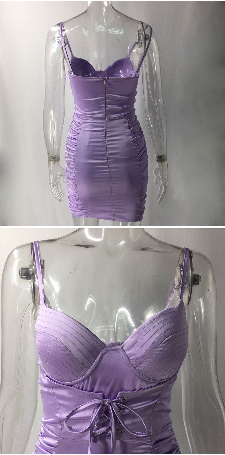Elegant Backless Satin Bandage Ruched Bodycon Dress 1