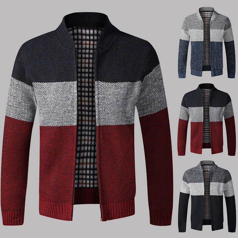 New Men Patchwork Wool Cardigan Autumn Winter Sweater Jumper Men Winter Striped Pocket Knitted Outwear Coat Men Sweatercoats