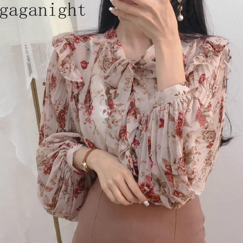 Gaganight Flower Chiffon Women Blouse Summer Autumn Ruffles Long Sleeve Bow Collar Shirts Female Vintage Elegant Chic Tops