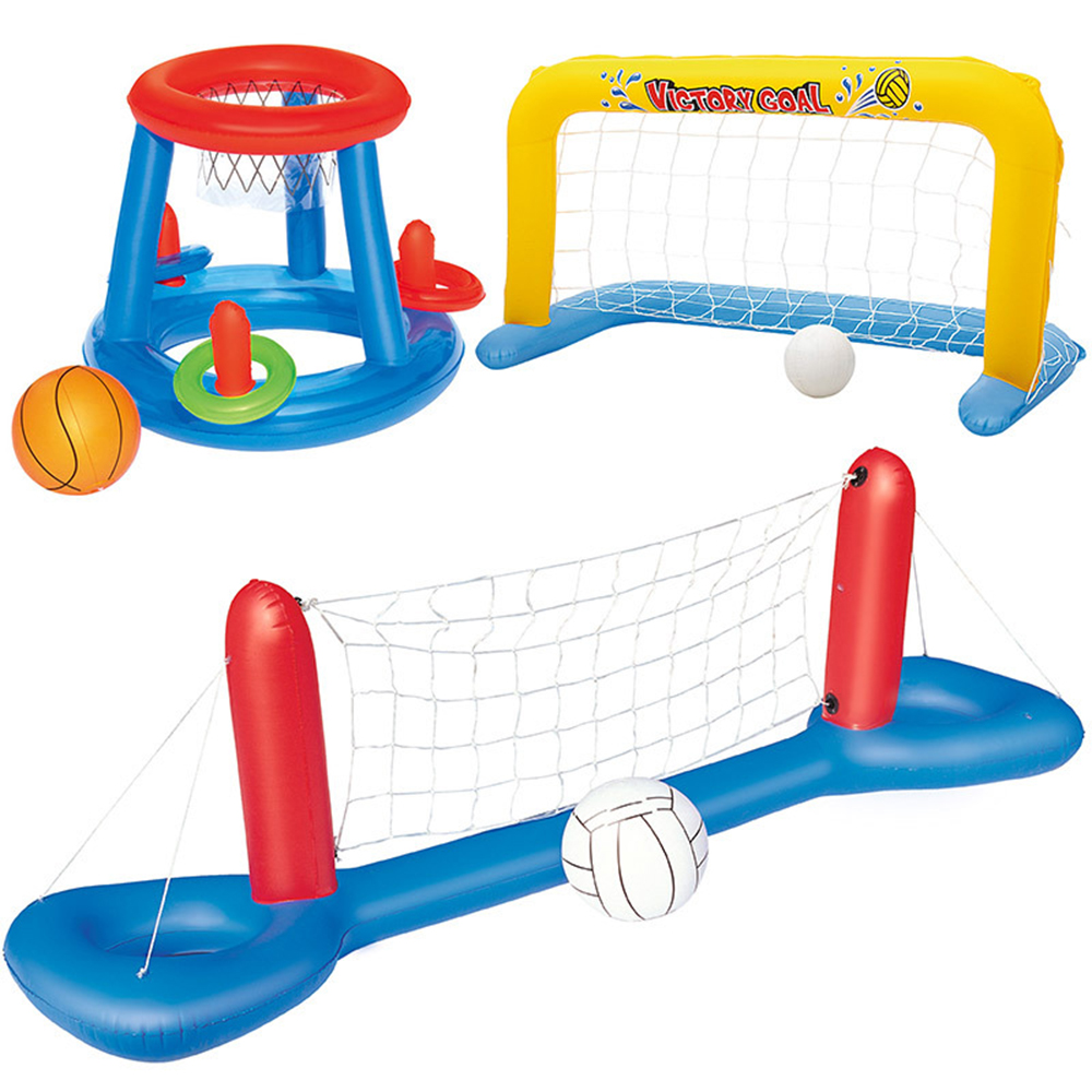 Children Outdoor Playing Inflatable Beach Floating Hoops Swimming Pool Toys Ball Games Volleyball Basketball Water Sports