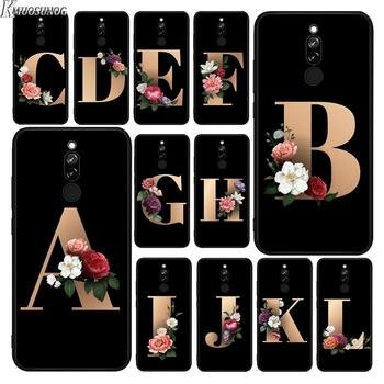 Funda de silicona negra letras alfabeto flores para Xiaomi Redmi Note 8T 8a 8 7 6 5 4X4 K20 Pro 7A 6A 6 5A Plus