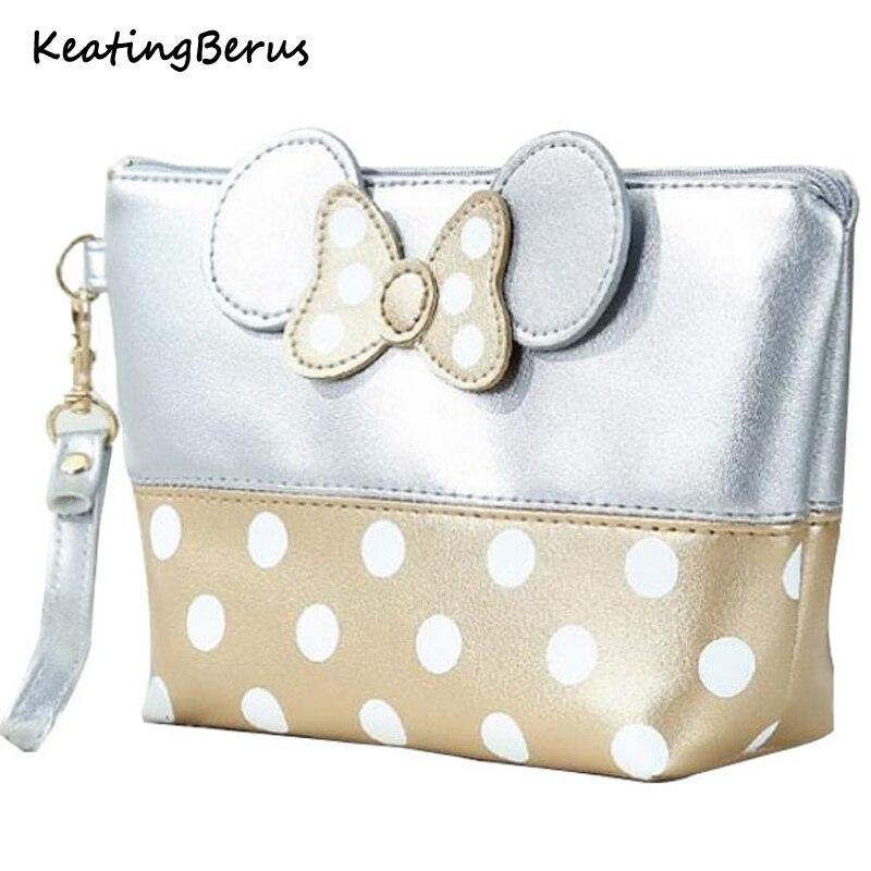 Cartoon Bow Makeup Travel Cosmetic Bag  CaseOrganizer Storage Pouch Toiletry Wash Bags Women Zipper Hand Holding Make Up Handbag