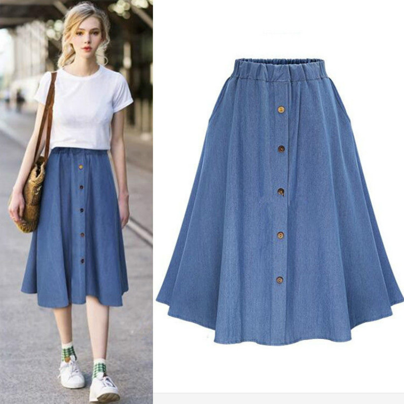 Classic Summer Denim Skirts Womens Pleated Knee Length Jeans Skirt Sweet Solid Casual Button Long Skirt Women Loose Skirts F37