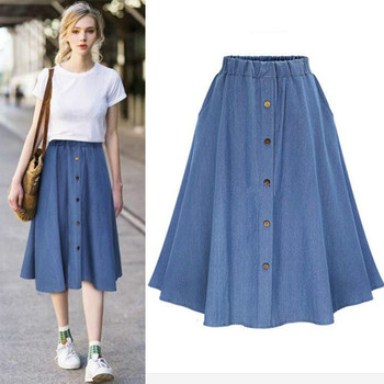 Classic Summer Denim Skirts Womens Pleated Knee Length Jeans Skirt Sweet Solid Casual Button Long Skirt Women Loose Skirts F37 mayoral dresses 10685167 girl children fitted pleated skirt pink polyester casual solid knee length sleeveless sleeve