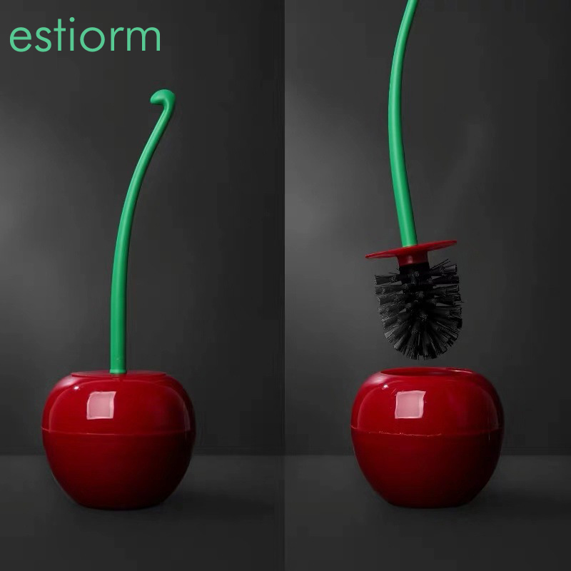 WC Toilet Brush Cleaner Cute Cherry Toilet Brush Set Toilet Cleaning Brush Bowl Bursh For Bathroom Toilet Brush And Holder Set