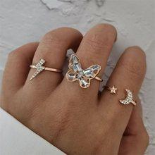 3 pz/set anelli da donna Set Lightning Butterfly Star Moon Open Crystal Finger Joint anello in oro classico regalo di san valentino gioielli