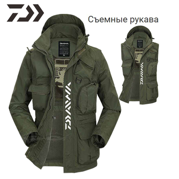 Daiwa Clothing Fishing Removable Sleeves Vest Fishing Shirt Multi-pocket Winter Fishing Jacket Daiwa Clothes Fishing Wear Men
