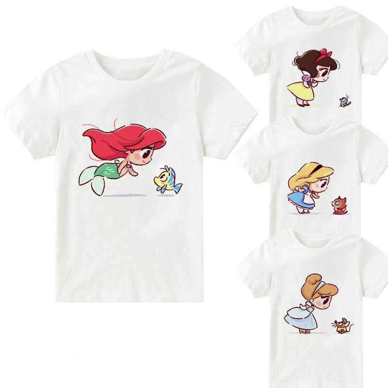 Kawaii Mermaid And Elf Best Friend Print Cartoon Girls Tops Summer Children's Clothes Snow White Alice Princess T-shirt,bal107