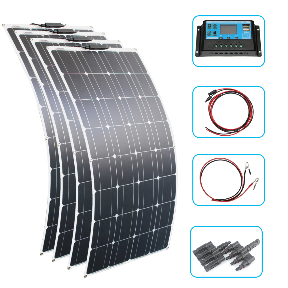 RG 200W 400W Flexible <font><b>Solar</b></font> <font><b>Panel</b></font> <font><b>100W</b></font> <font><b>12V</b></font> 24v Controller +30A <font><b>Solar</b></font> Energy System for Fishing Boat Cabin Camping image
