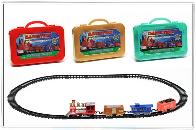 Children Christmas Electric Rail Train Classic Model Rail Train Toy Car Christmas Toy Gift