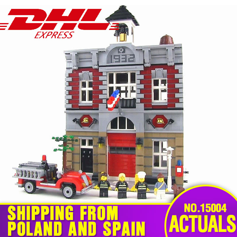 DHL City Street 15004 Fire Brigade Model Building Kits Blocks Bricks Compatible with <font><b>10197</b></font> Toys for children gift image