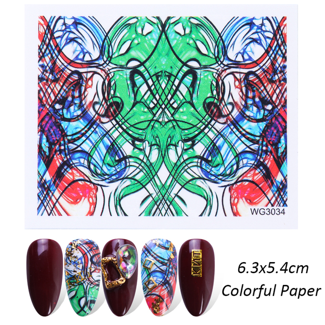 45pcs DIY Dazzling Nail Art Sticker Decals Water Transfer Foils Full Colorful Light Snowflakes Manicure Paper Set CHWG3001-3045