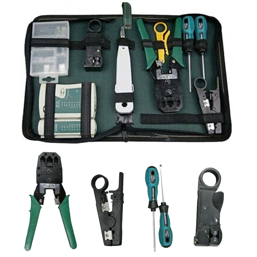 Besegad 10Pcs Computer Network Maintenance Repair Tool Kit LAN Cable Cable Tester Wire Stripper Screwdriver RJ45 Connector Tools