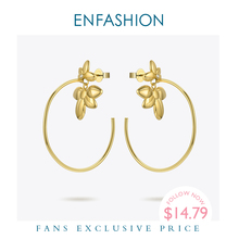 ENFASHION Flower Hoop Earrings For Women Gold Color Statement Big Circle Hoops Earings Fashion Jewelry Pendientes Mujer EF191047