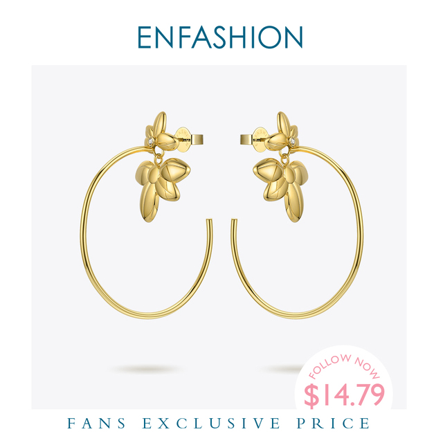 ENFASHIONดอกไม้Hoopต่างหูทองสีงบวงกลมขนาดใหญ่Hoopsต่างหูแฟชั่นเครื่องประดับPendientes Mujer EF191047