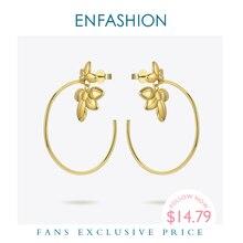 ENFASHION زهرة هوب أقراط للنساء الذهب اللون بيان كبير دائرة الأطواق أقراط مجوهرات الأزياء Pendientes Mujer EF191047