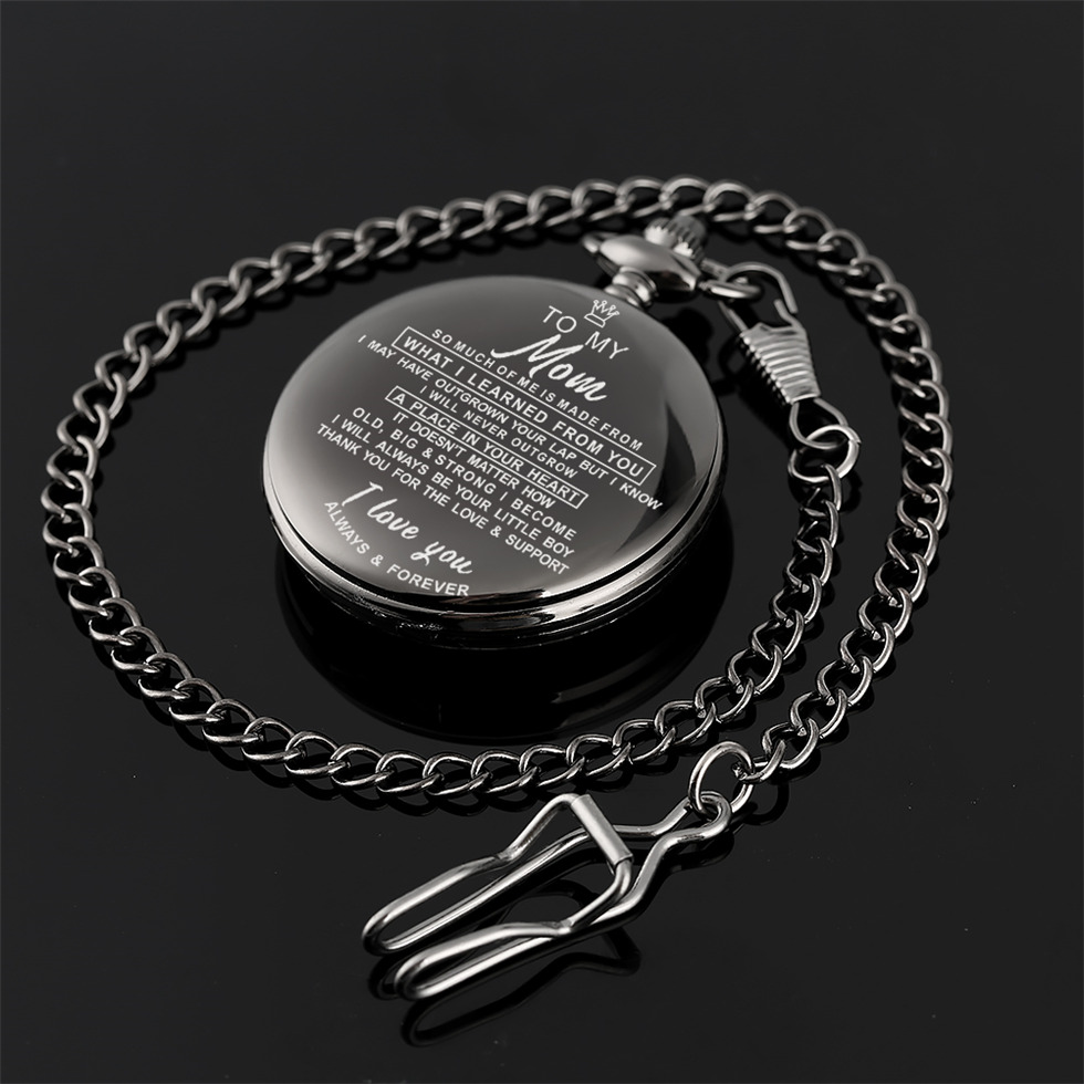 Engraved Customized To Mom From Kids Theme Black Pocket Watch For Women Fob Watches For Mother Best Gift Drop Shipping