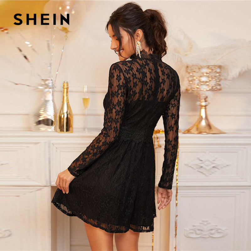 SHEIN Black Stand Collar Sheer Lace Glamorous Overlay Dress Women Spring High Waist Long Sleeve Flared Ladies Party Dresses 2