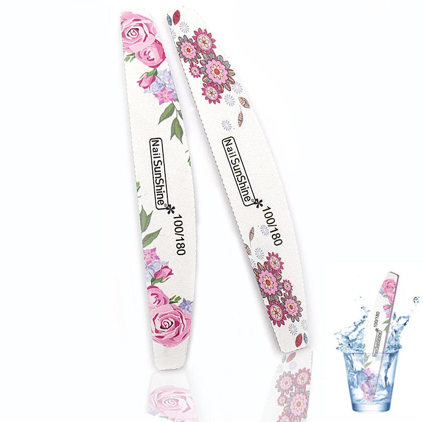 5pc Nail File 100/180 Colorful Flower Professional Nail Buffer For Manicure Acyclic Nail Art Tips Washable Thick File Salon Tool