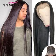 Yyong malaio em linha reta 1x4 & 1x6 t parte parte do laço transparente perucas remy parte do cabelo humano peruca do laço 120% longo 30 32 polegada
