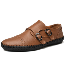 Handmade Genuine Leather Men Shoes Cow leather shoes men casual shoes loafers Moccasins zapatos de hombre Puls size 38 48