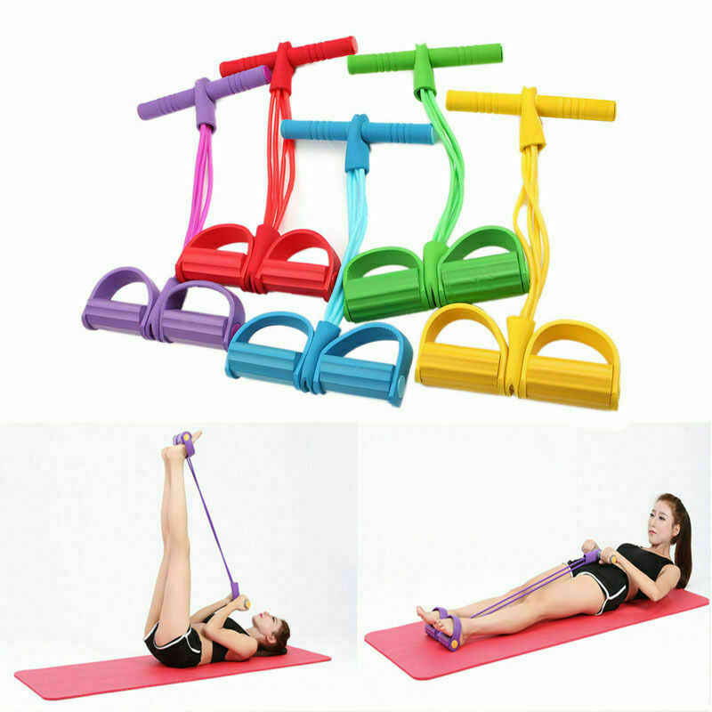 Details about  /4 Tubes Strong Fitness Yoga Resistance Band Latex Pedal Exercise Sit-Up Tool